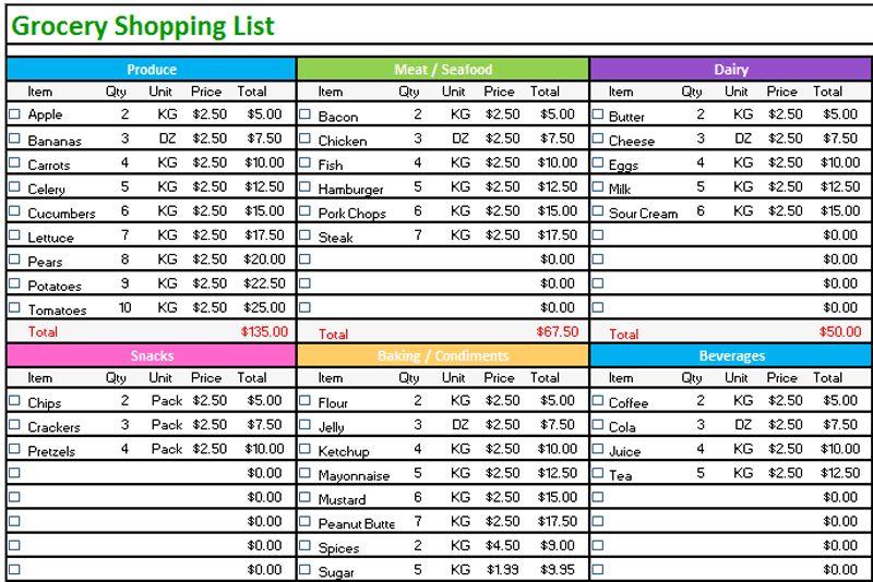 Grocery list template (Standard Design) - Dotxes