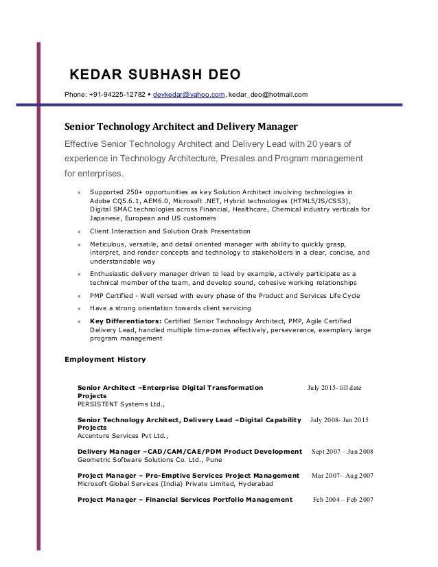 Resume - Kedar Deo (Oct 2016)
