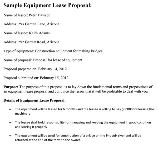 Construction Equipment Lease Proposal Template
