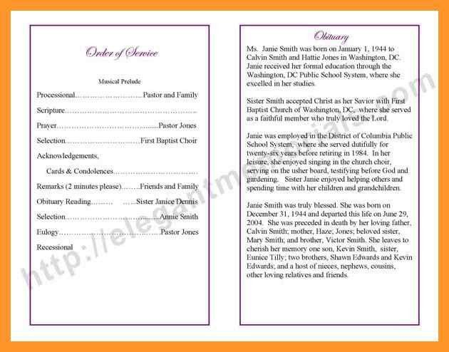 obituary order of service template | sop example