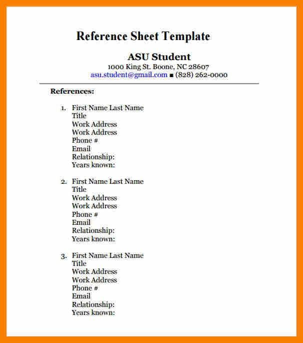 sample of resume reference page free contact list template resume ...