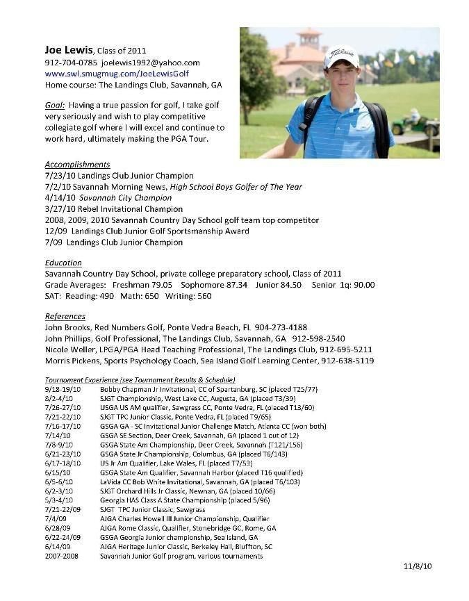 College Golf Resumes - Best Resume Collection