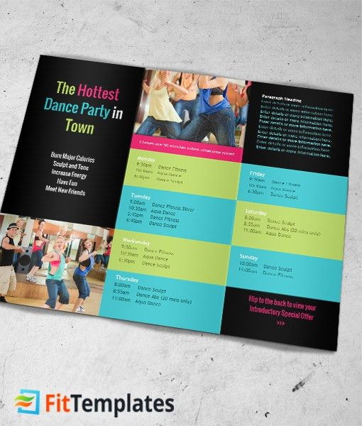 Dance Fitness Tri fold Brochure Template