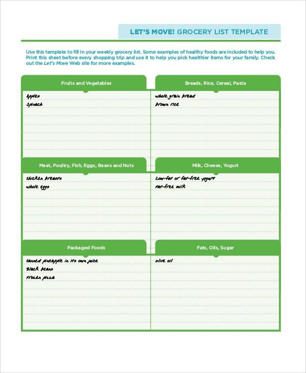 Sample Grocery List - 7+ Documents in PDF, WORD
