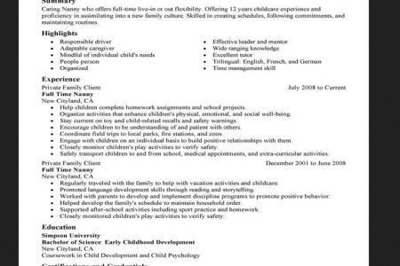 Resume For Nanny Position - Reentrycorps