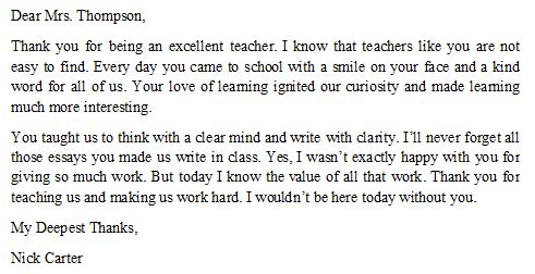How to Write a Thank You Letter to Your Teacher - Sample and Tips ...