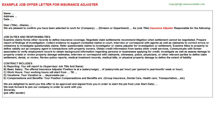 Insurance Adjuster Offer Letter
