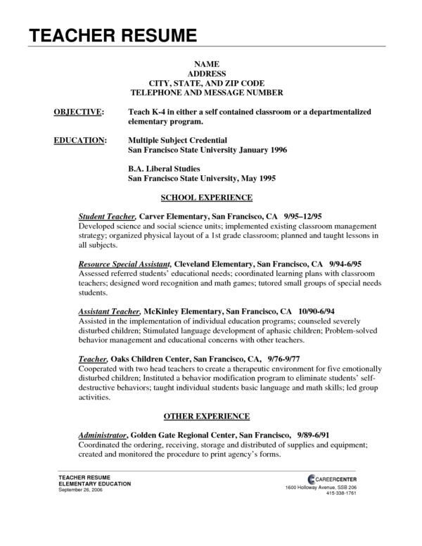 Excellent Elementary Teacher Resume Template and Good Profile ...