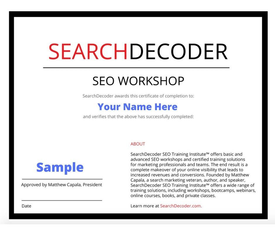 SEO Certification | SearchDecoder Certified Training Solutions