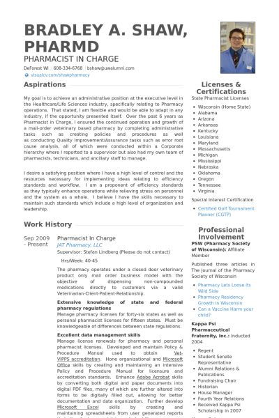 Pharmacist Resume samples - VisualCV resume samples database