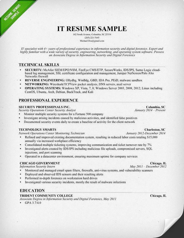 It Resume Samples 22 Information Technology IT Resume Example ...