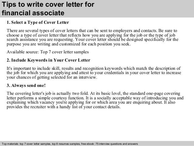 Financial associate cover letter