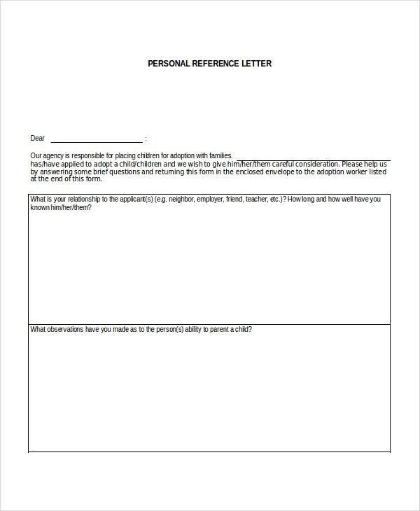 7+ Personal Reference Letter Templates - Free Sample, Example ...