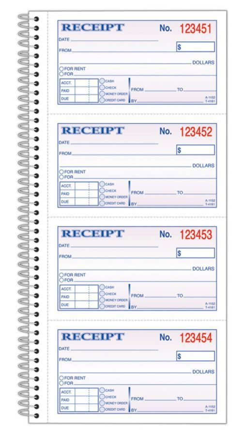 Adams Carbonless 2 Part Spiral MoneyRent Receipt Book 11 x 5 14 ...