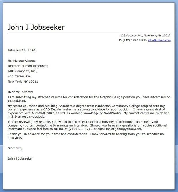 Graphic Design Cover Letter Sample PDF | Creative Resume Design ...