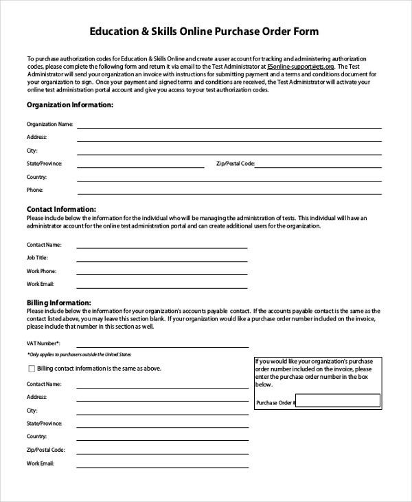 Sample Blank Purchase Order Form - 11+ Free Documents in Word, PDF ...