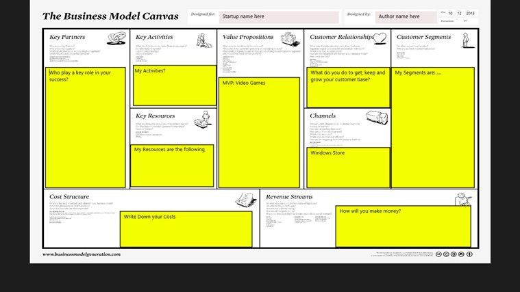 My Business Model Canvas for Windows 8 and 8.1