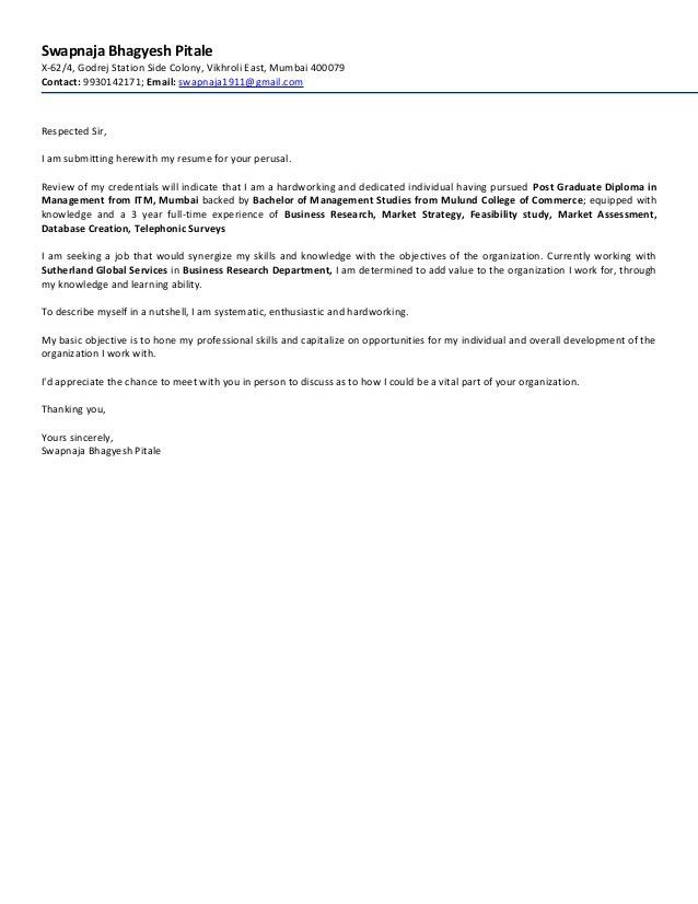 Swapnaja Bhagyesh Pitale Cover Letter and Resume