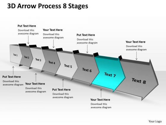 3d Arrow Process 8 Stages Ppt Flow Chart Free PowerPoint Templates ...