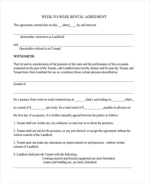 Sample Standard Lease Agreement Example. 8+ Rent Contract Form ...