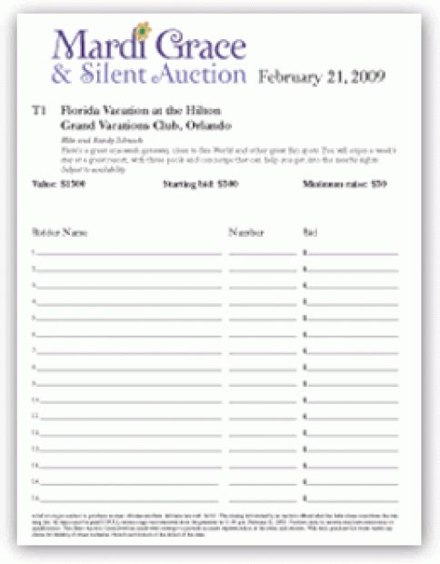 6 Silent Auction Bid Sheet Templates - formats, Examples in Word Excel