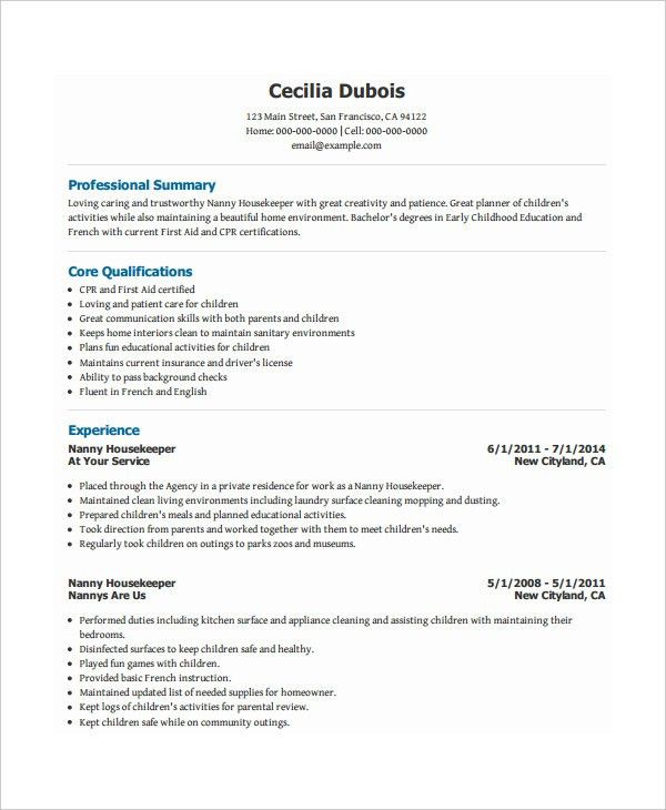 nanny resume template executive format resume resume samples best - Nanny Resumes Samples