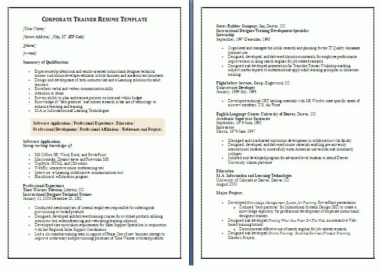 12 Sample Corporate Trainer Resume | RecentResumes.com