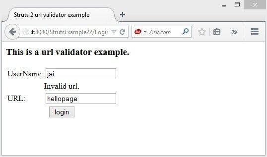 Struts2 url validator | Tutorialspoint examples