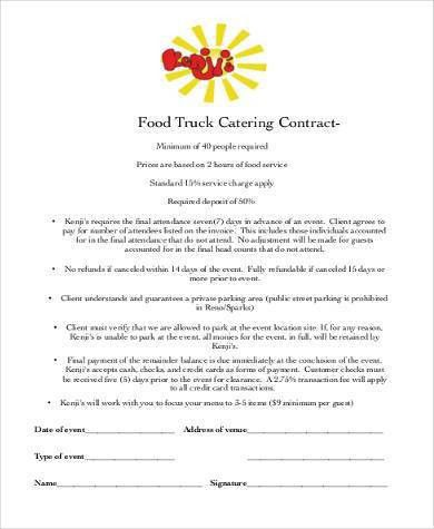 Catering Contract Form Samples - 8+ Free Documents in Word, PDF