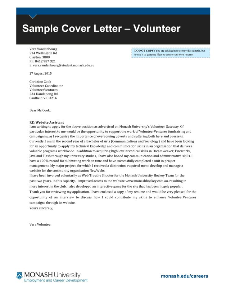 Basic Volunteer Coordinator Cover Letter Samples and Templates