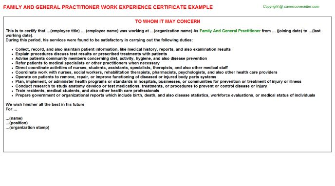 General Practitioner Work Experience Letters
