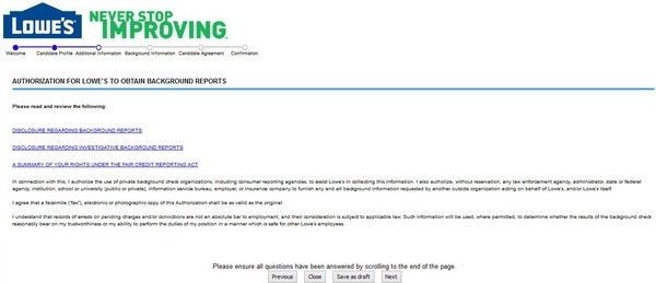 apply lowes online step 4. lowes online employment application doc ...