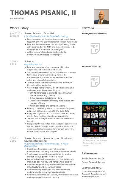 Senior Research Scientist Resume samples - VisualCV resume samples ...