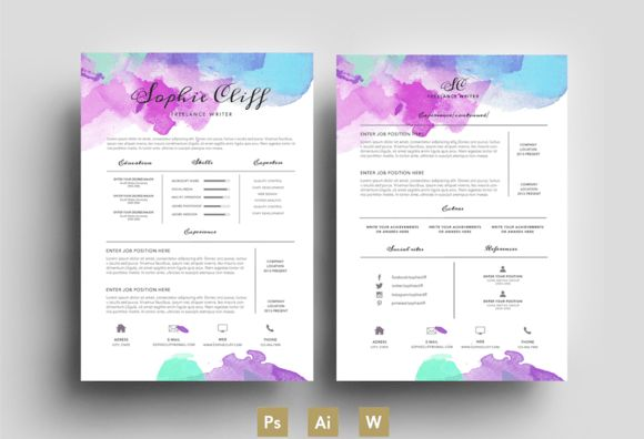 Water Color/Resume/Template/PSD by Emily's ART Boutique on ...