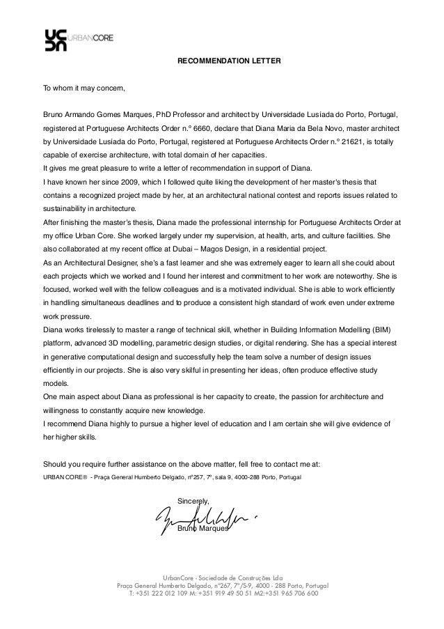 Recommendation Letter - Bruno Marques . phd professor architect