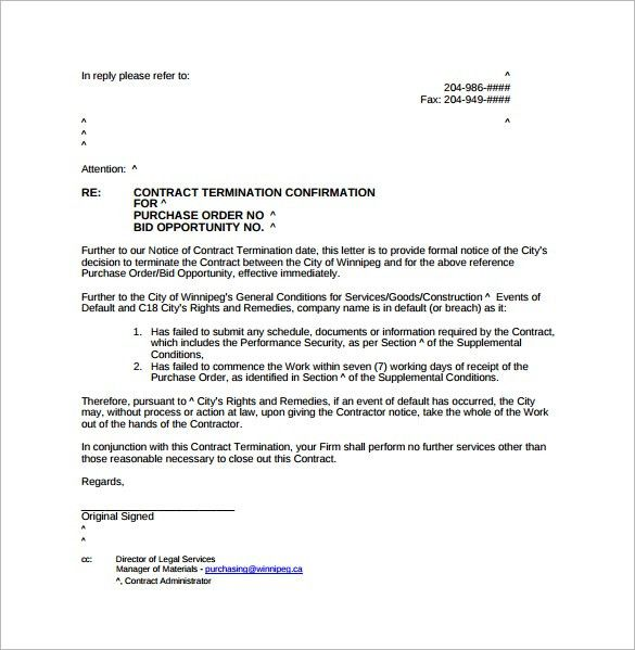 Letter of Termination - 7+ Download Free Documents in Word, PDF