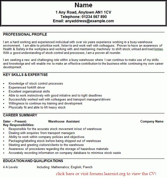 Warehouse Sample Resume - Sample Resume. Resume For Youth Workers ...