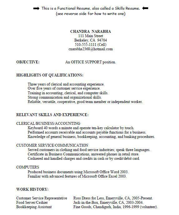 Functional Resume Sample Customer Service | Professional resumes ...