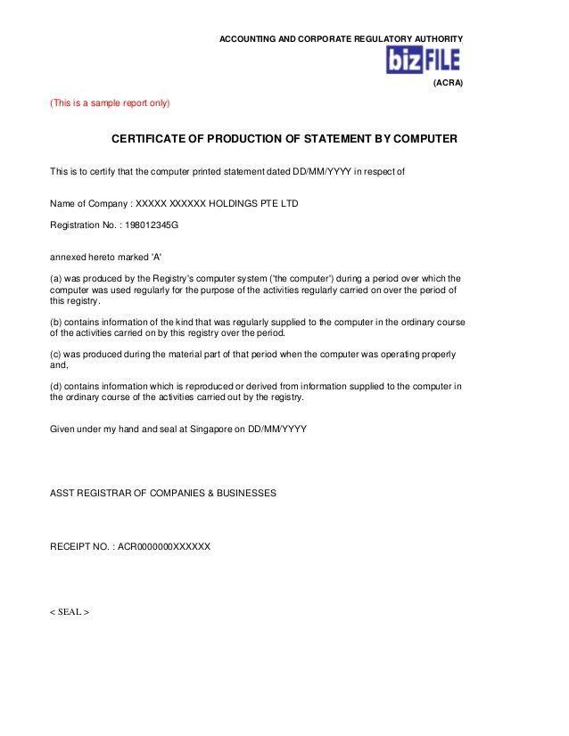 SIngapore ACRA : Sample bp cert(5) & ccfp(6)