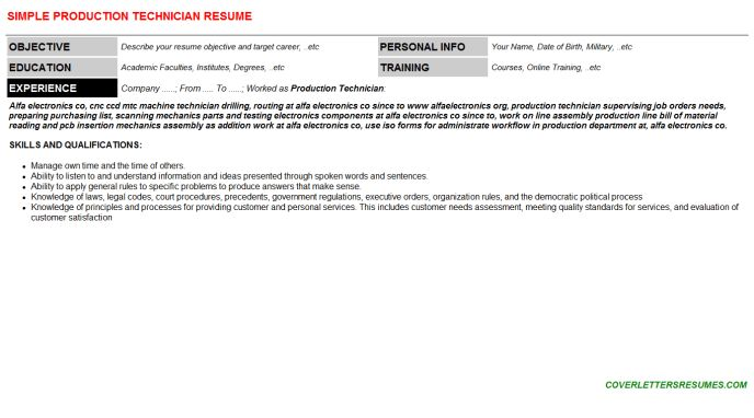 Production Technician Cover Letter & Resume