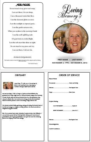 In Loving Memory' Traditional Single Fold Funeral Template for ...