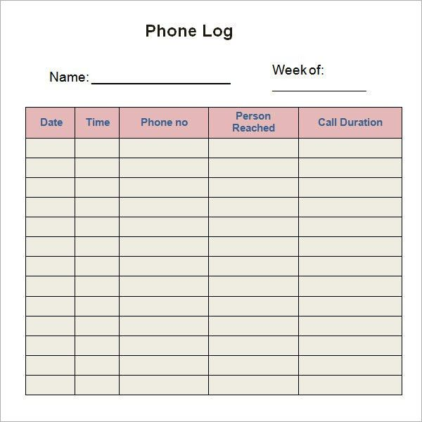 Phone Log Template - 7+ Free PDF, DOC Download