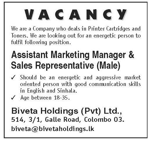 Assistant Marketing Manager & Sales Representative,Biveta Holdings ...