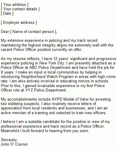 Law Enforcement Cover Letter inside Law Enforcement Cover Letter ...