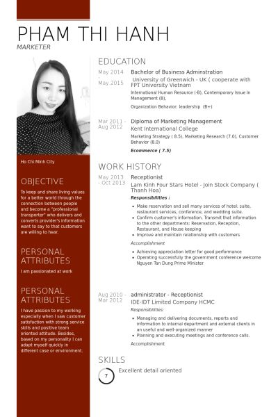 Receptionist Resume samples - VisualCV resume samples database