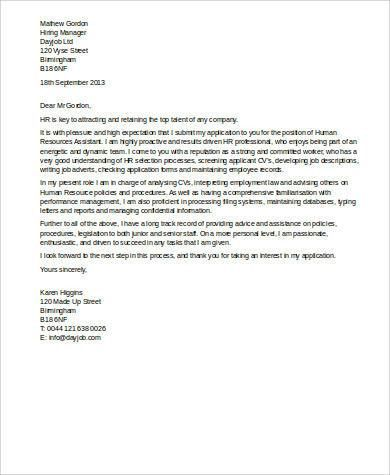 Sample Human Resources Cover Letter - 7+ Examples in Word, PDF