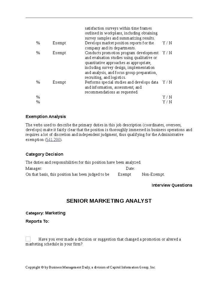Senior Marketing Analyst Job Description - Hashdoc