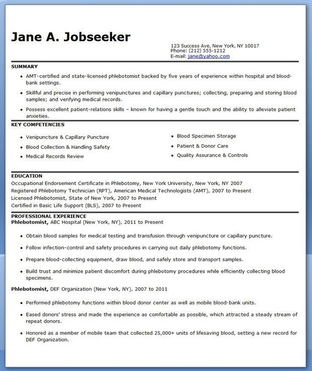 Phlebotomist Resume Objective Samples Phlebotomy Resume Jasmine I  Phlebotomy Resume Objective