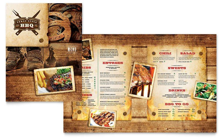 Steakhouse BBQ Restaurant Menu Template - Word & Publisher