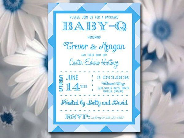 Baby-Q Baby Shower Invitation Template Download - Blue Baby Boy ...